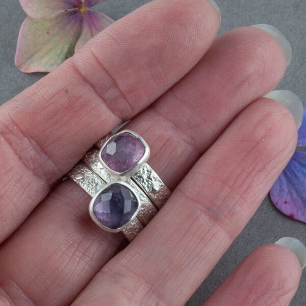 Stacking rings in sterling silver with purple and pink Tourmaline