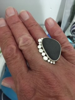 Stephanie wearing her pebble and silver statement ring