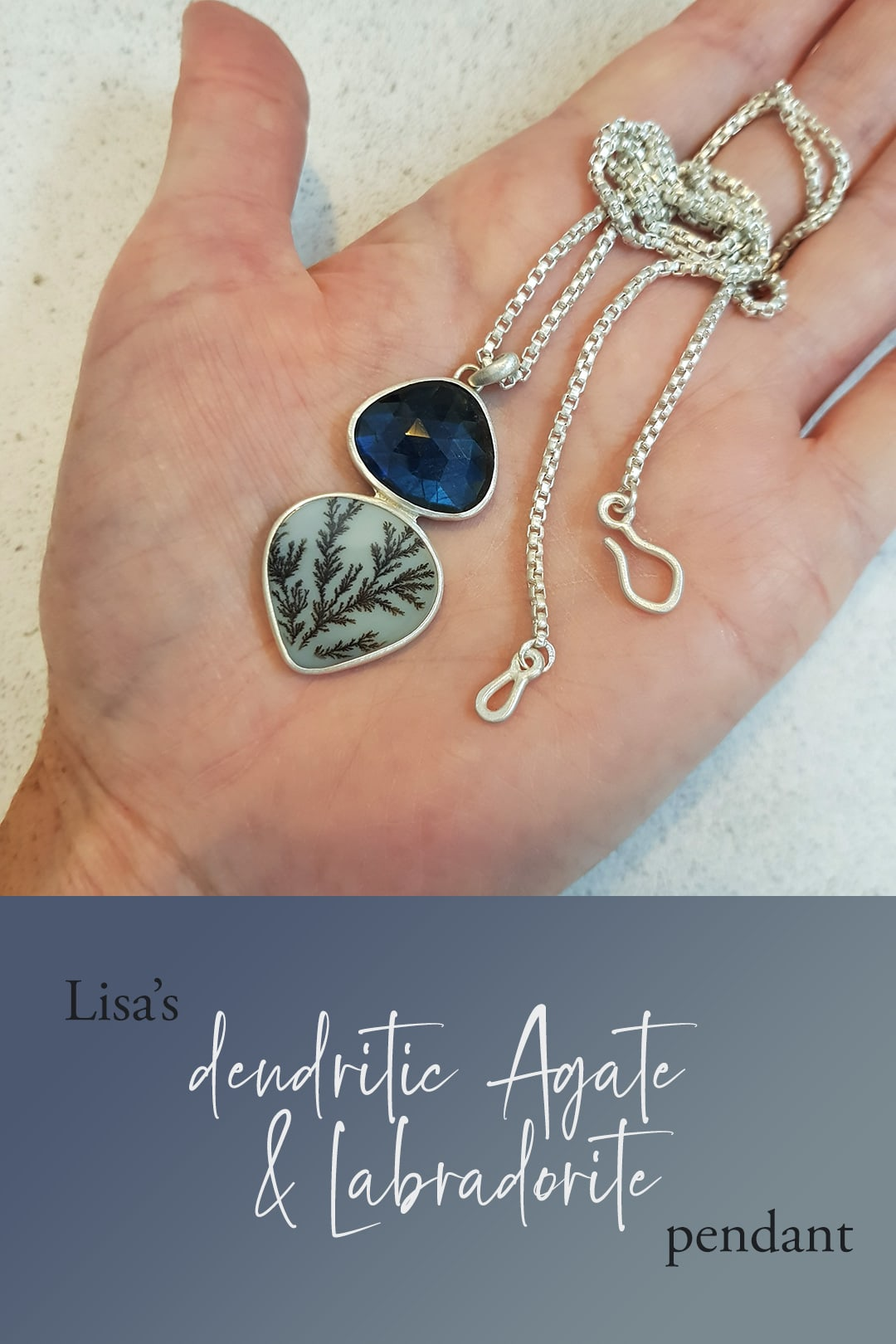 Lisa's dendritic agate and labradorite pendant