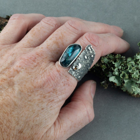 Kyanite and Diamond statement ring in recycled sterling silver worn on hand
