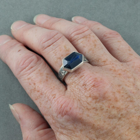 One of a kind Labradorite ring in textured, recycled sterling silver