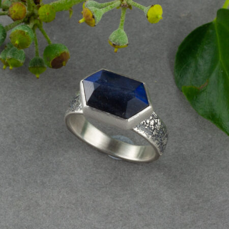 Blue flashy Labradorite ring, handmade in recycled sterling silver