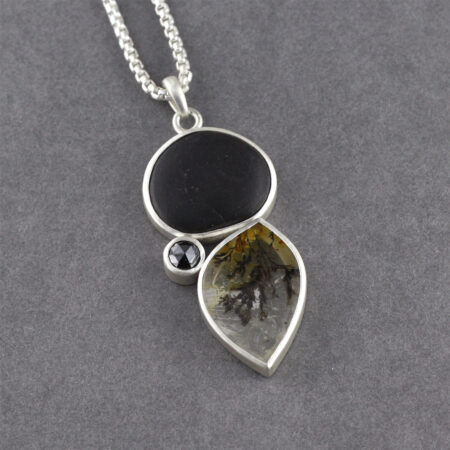 Beach pebble, dendritic agate and rose cut diamond pendant necklace in sterling silver