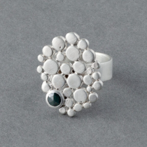 Beach pebble and diamond ring in sterling silver