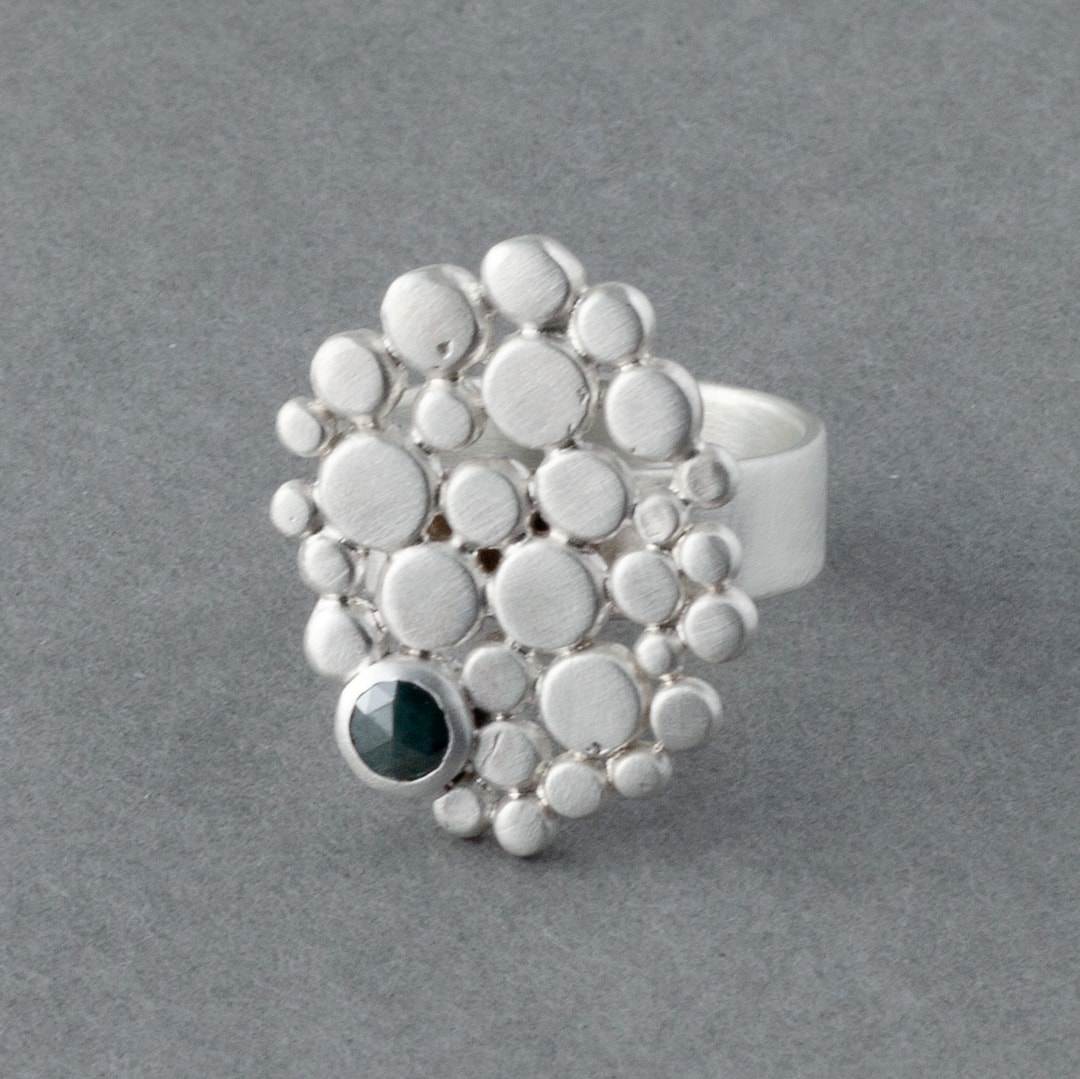 Blue diamond and multi pebble ring in sterling silver