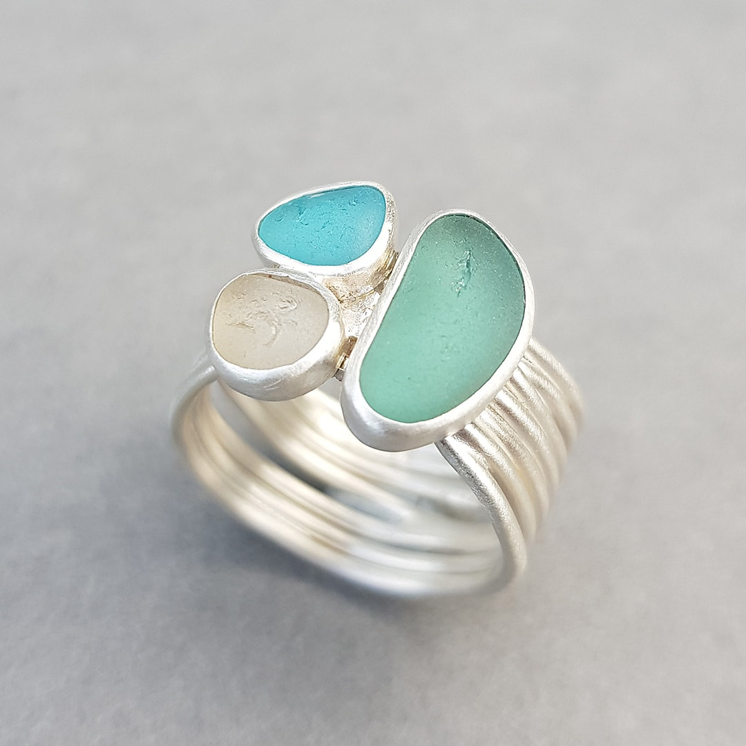 Stephanie's sea glass and recycled sterling silver ring commission