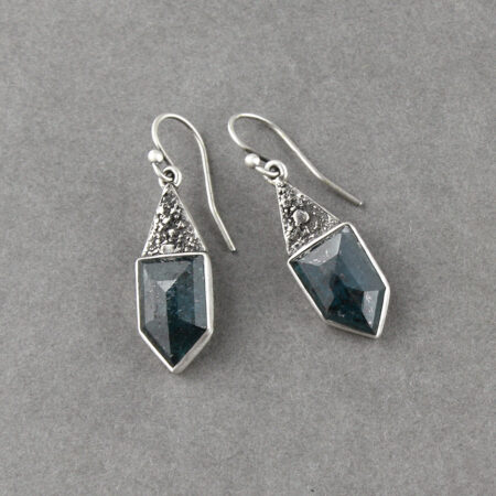 Teal blue kyanite earrings in textured sterling silver