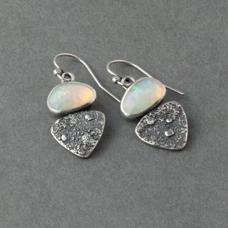 Ethiopian opals in textured sterling silver drop earrings