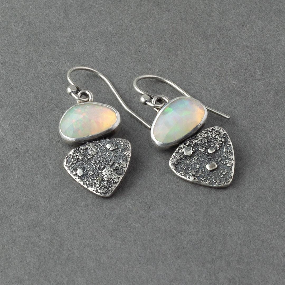 Ethiopian opals in textured sterling silver drop earrings