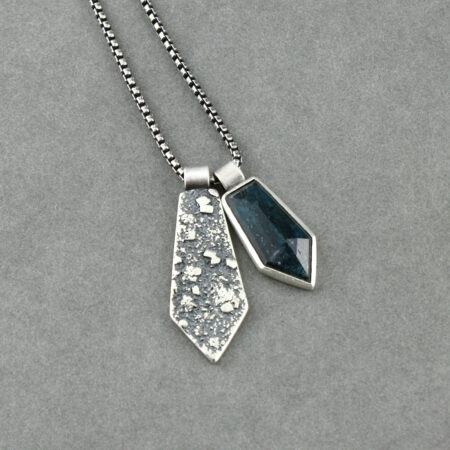 Teal blue Kyanite pendant duo on textured recycled sterling silver