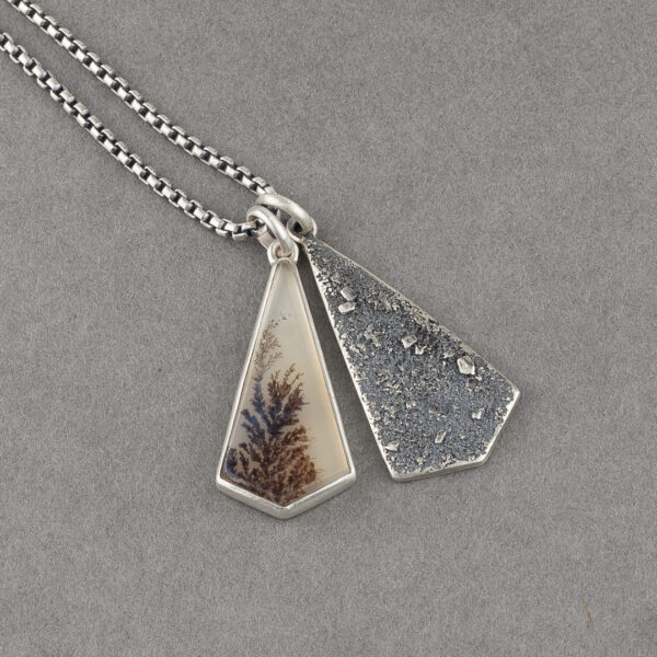Geometric dendritic agate and textured recycled sterling silver pendant duo