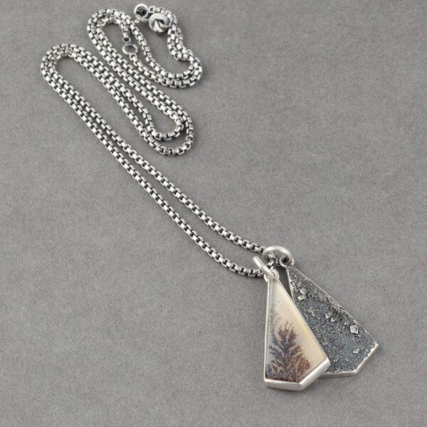 Dendritic agate and textured recycled sterling silver pendant duo