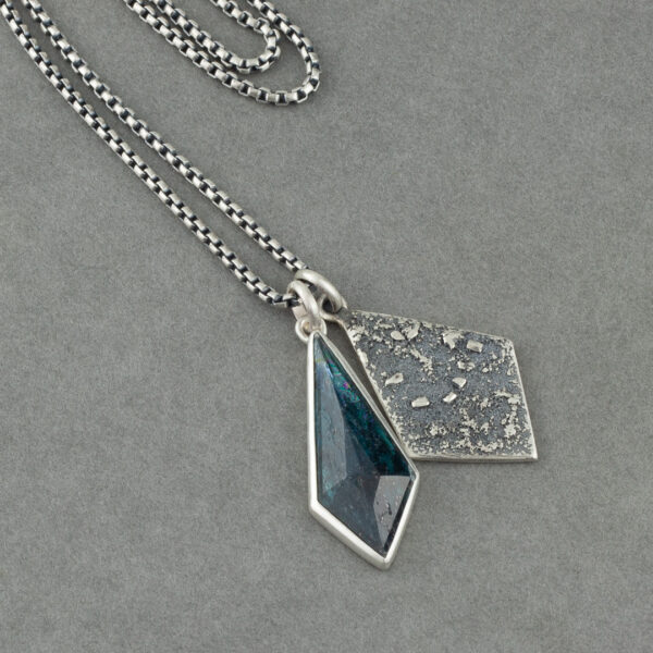 One of a kind kyanite and recycled textured sterling silver pendant duo