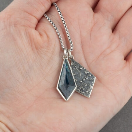Handmade kyanite and recycled textured sterling silver pendant duo