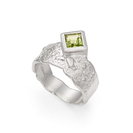 Peridot ring in textured sterling silver