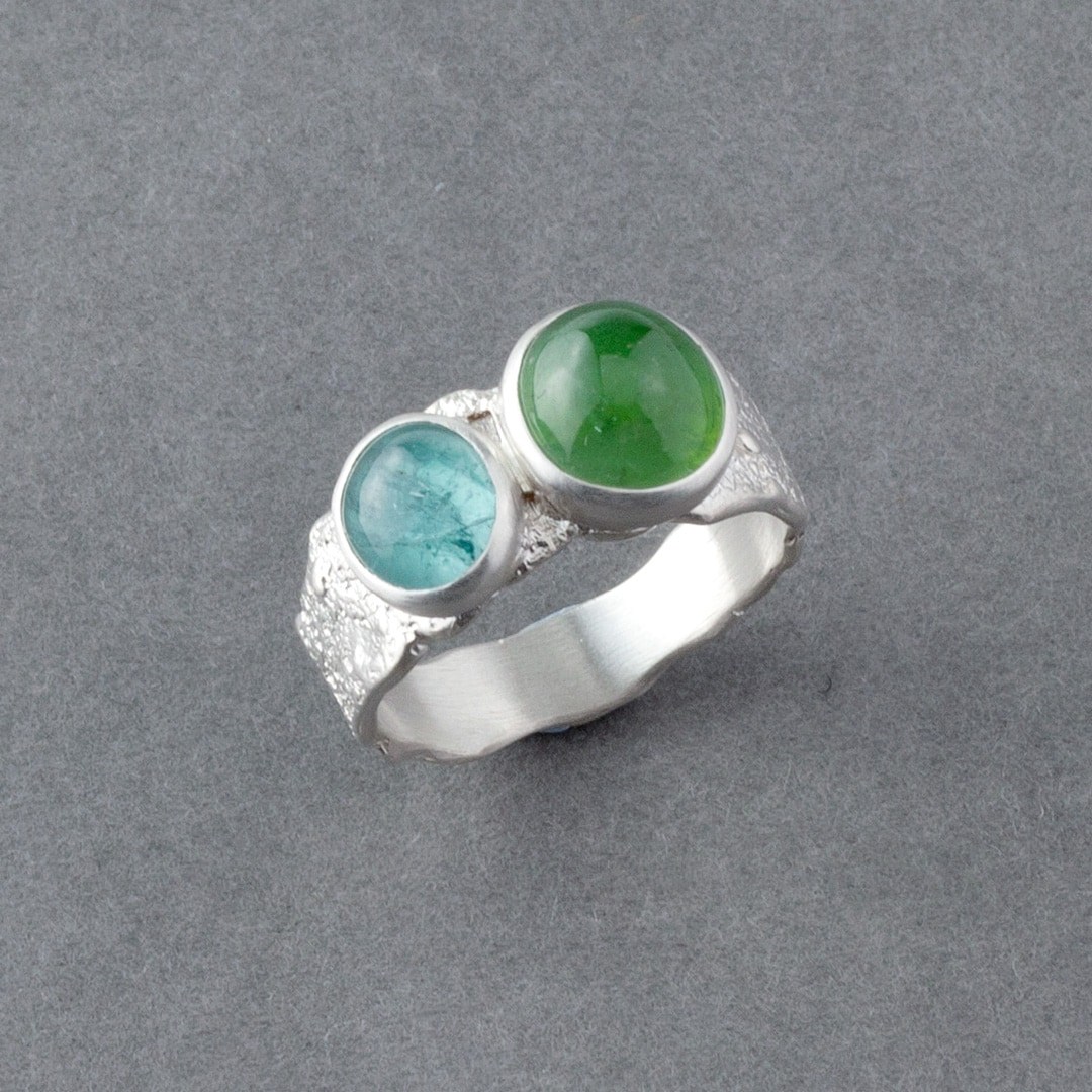 Blue and green tourmaline ring in textured recycled sterling silver