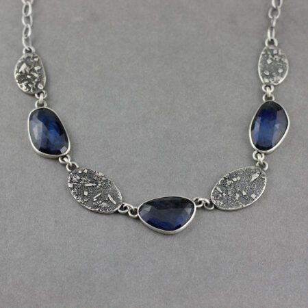 Labradorite statement necklace in textured recycled sterling silver