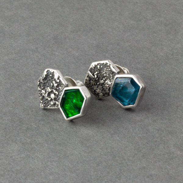 Handmade emerald and kyanite stud earrings in textured recycled sterling silver