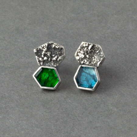 Emerald and kyanite stud earrings in textured recycled sterling silver