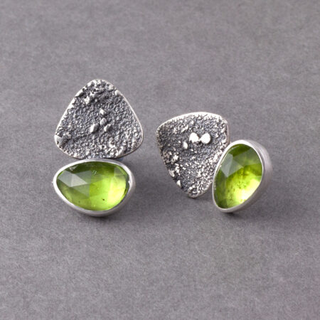 Peridot stud earrings in texture sterling silver
