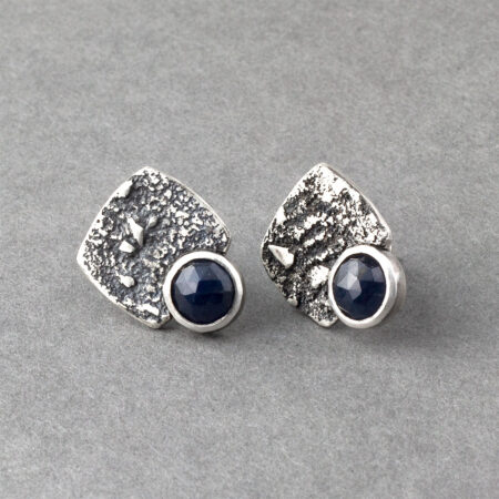 Blue sapphire stud earrings in textured sterling silver