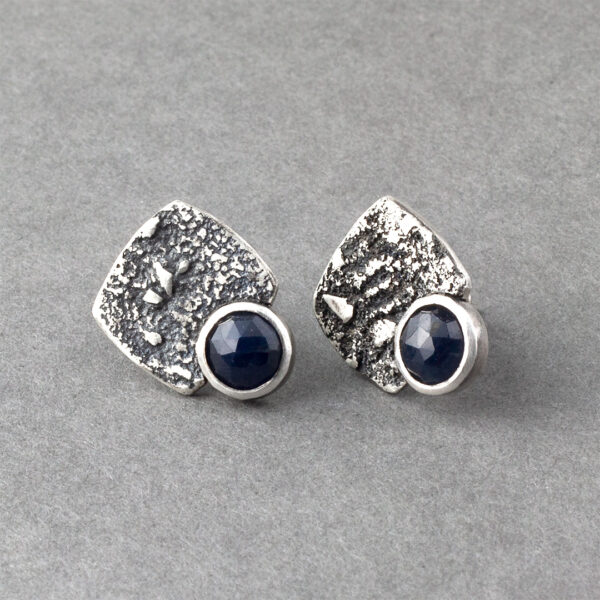 Blue sapphire stud earrings in textured sterling silver