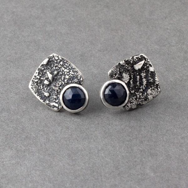 Handmade blue sapphire stud earrings in textured sterling silver