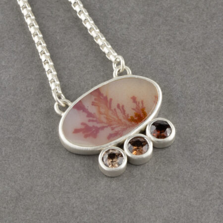 Dendritic agate necklace with ombre orange coloured Zircon in brushed sterling silver