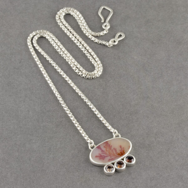 Dendritic agate necklace with ombre orange coloured Zircon in sterling silver