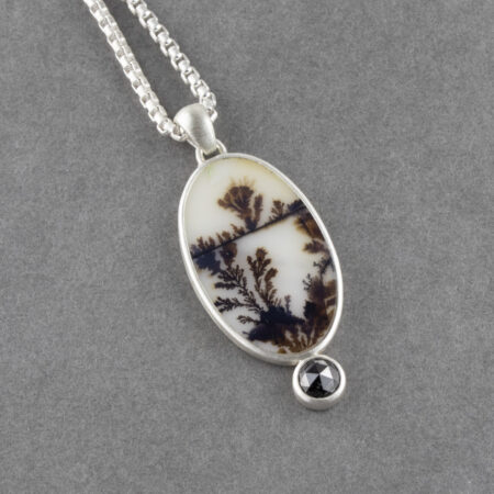 Dendritic agate pendant with black diamond in brushed sterling silver