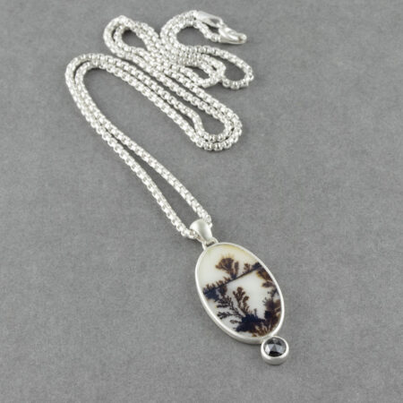 Dendritic agate pendant with black diamond on a rounded box chain