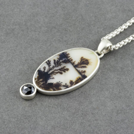 Dendritic agate pendant with black diamond in recycled sterling silver