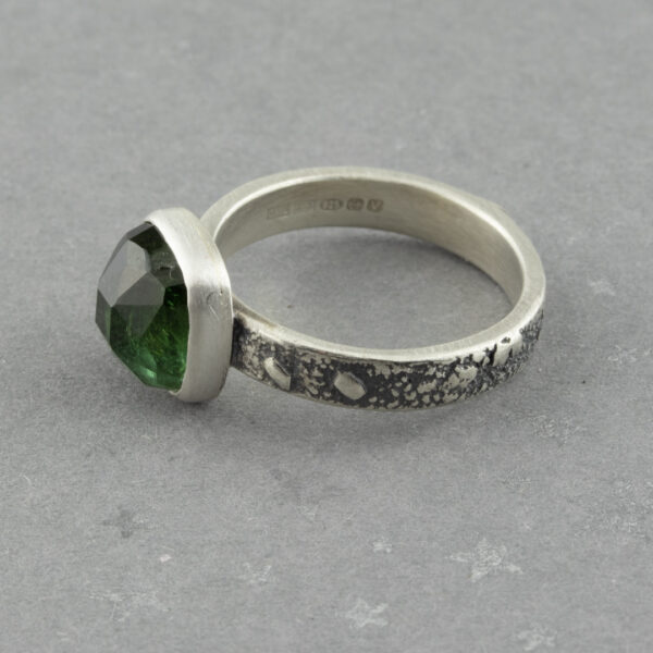 One of a kind green tourmaline ring in textured sterling silver