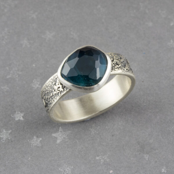 Teal blue tourmaline ring in recycled sterling silver