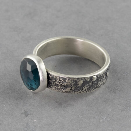 Teal blue tourmaline ring in textured sterling silver