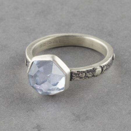 One of a kind aquamarine ring in sterling silver