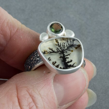 Dendritic agate ring with green tourmaline in sterling silver