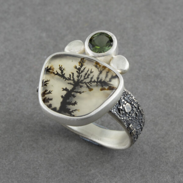 Dendritic agate ring with green tourmaline in textured sterling silver