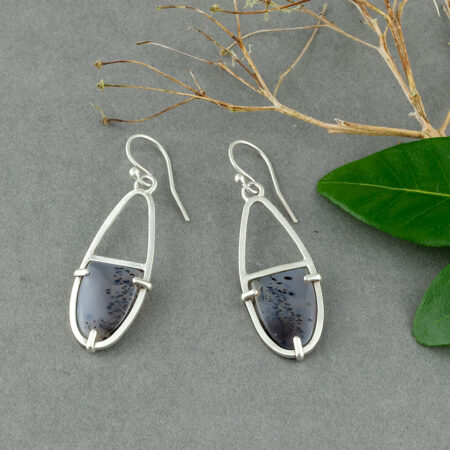 Scandi style prong set River Agate earrings