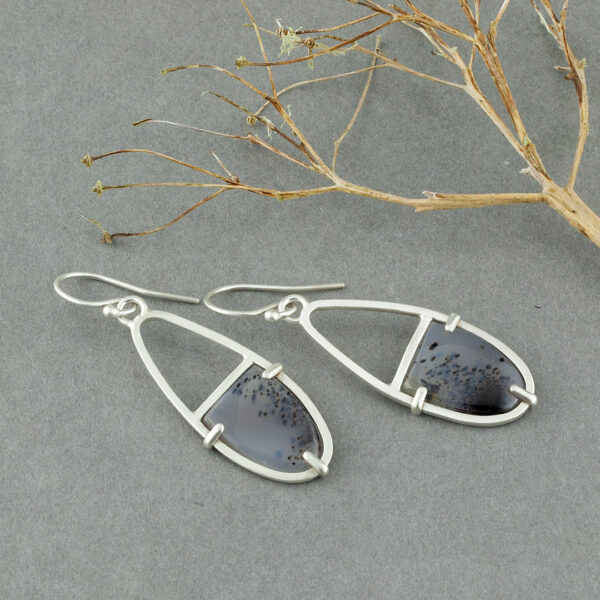 Prong set River Agate earrings