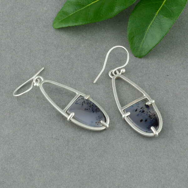 Prong set River Agate earrings in brushed sterling silver
