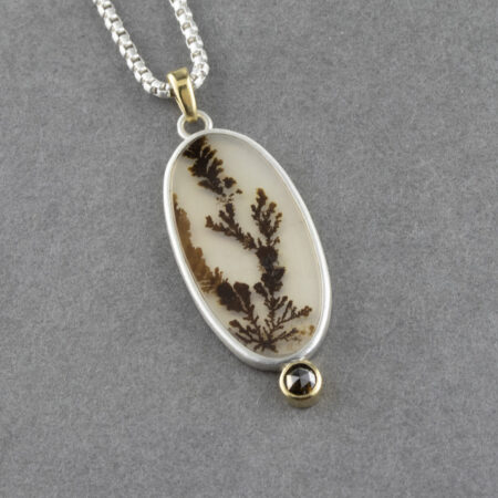 Dendritic agate and brown diamond pendant in sterling silver and 18ct gold.