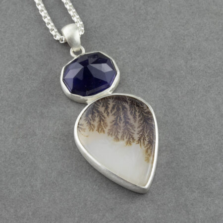 Dendritic agate and Iolite pendant necklace