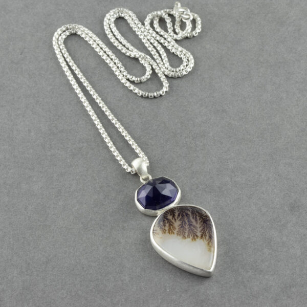 Dendritic agate and Iolite pendant necklace in sterling silver