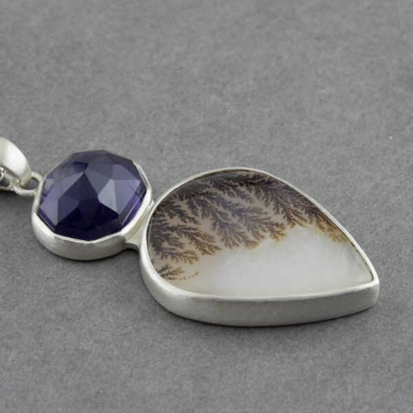 Dendritic agate and Iolite pendant necklace in brushed sterling silver