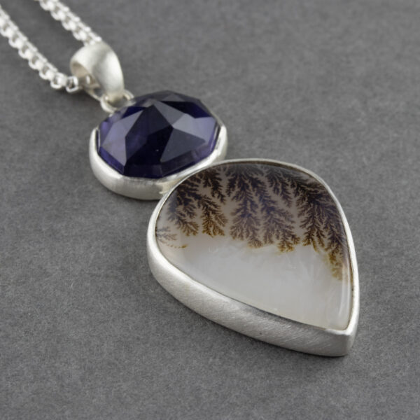 One of a kind Dendritic agate and Iolite pendant necklace in recycled brushed sterling silver