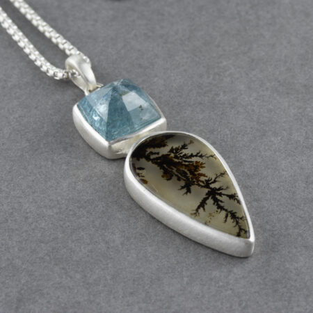 Dendritic agate and blue tourmaline pendant in sterling silver