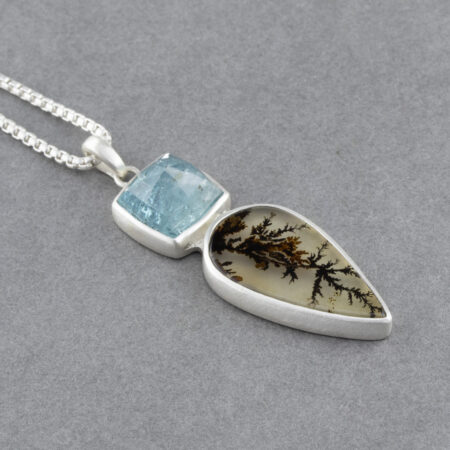 Handmade Dendritic agate and blue tourmaline pendant