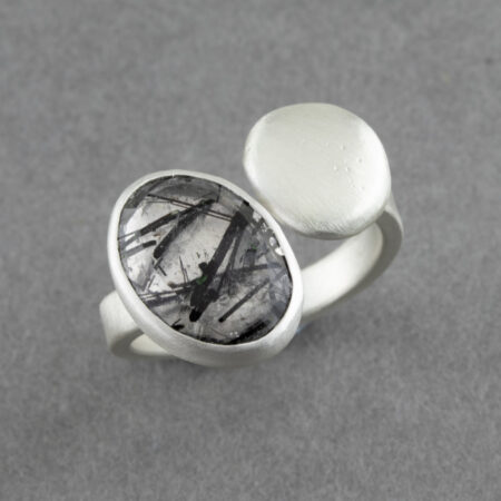 Tourmalinated quartz ring in brushed recycled sterling silver