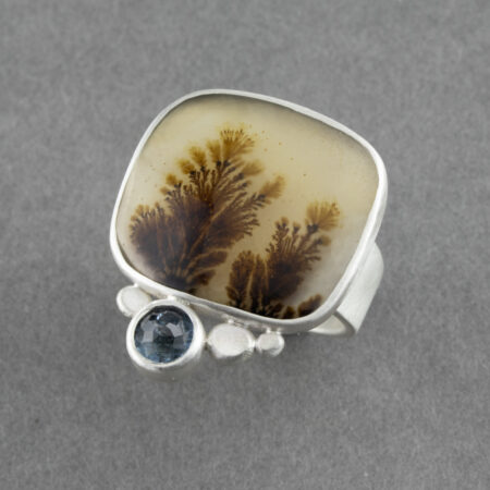 Dendritic agate with aquamarine in recycled brushed sterling silver